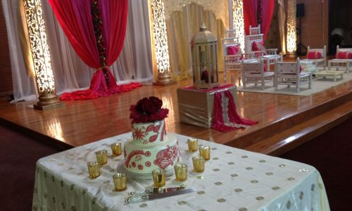 wedding with pink and cake